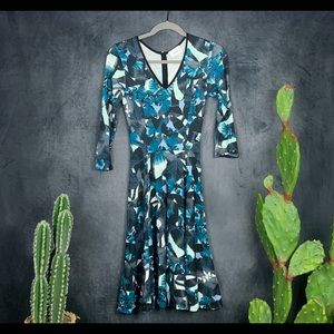 Erdem Domitilla Fit & Flare Floral Dress Blue A415